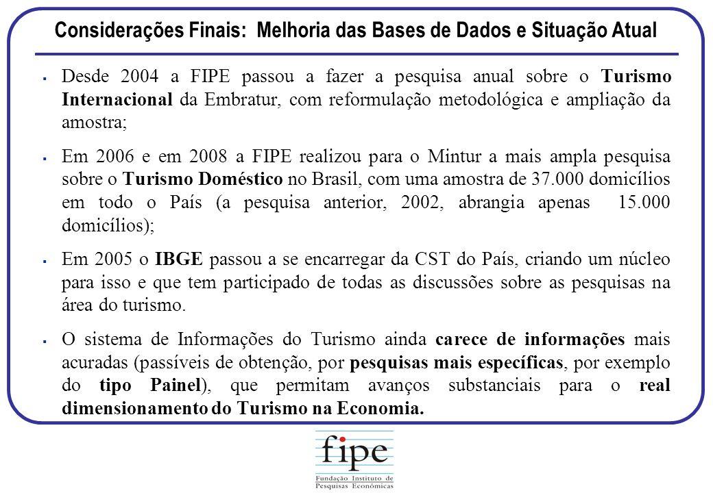 Considerações Finais: Melhoria das Bases de Dados e Situação Atual Desde 2004 a FIPE passou a fazer a pesquisa anual sobre o Turismo Internacional da