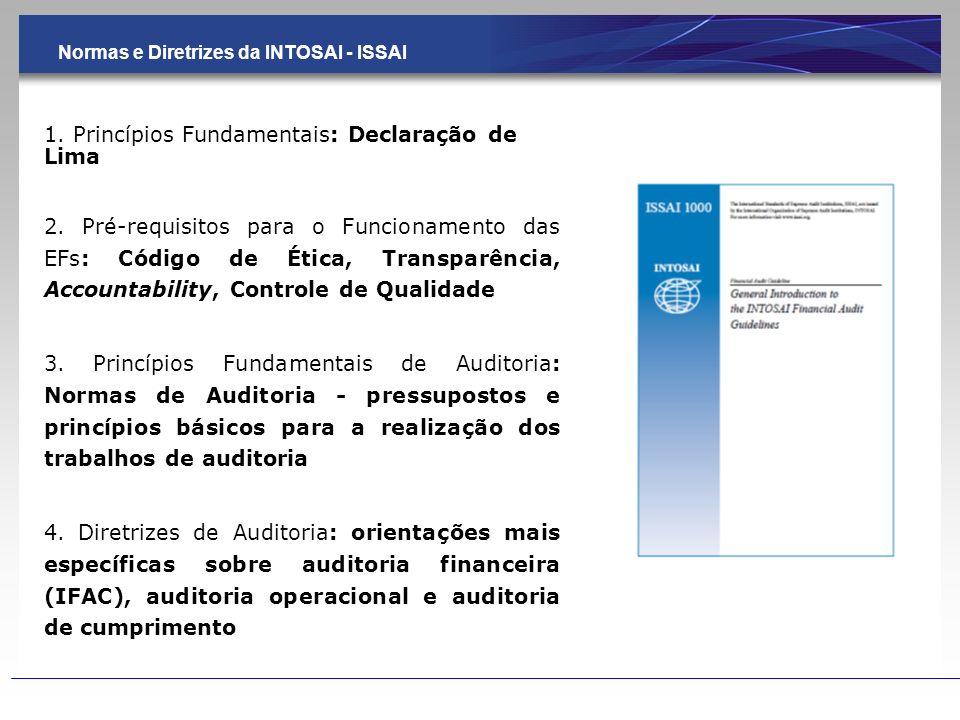 Normas e Diretrizes da INTOSAI - ISSAI 1. Princípios Fundamentais: Declaração de Lima 2. Pré-requisitos para o Funcionamento das EFs: Código de Ética,