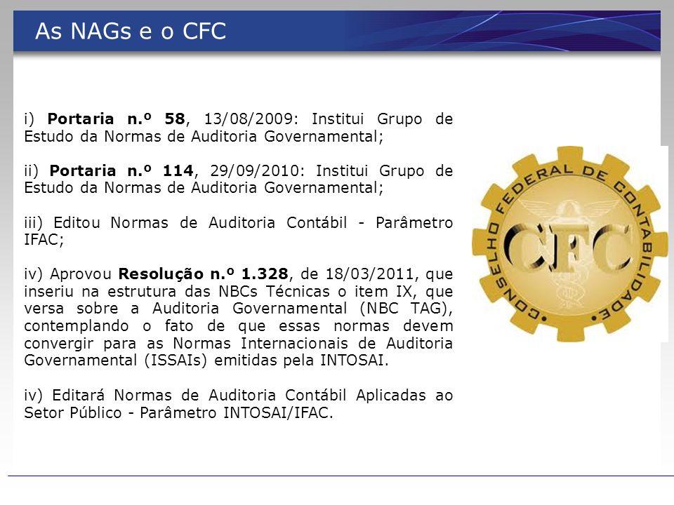 As NAGs e o CFC i) Portaria n.º 58, 13/08/2009: Institui Grupo de Estudo da Normas de Auditoria Governamental; ii) Portaria n.º 114, 29/09/2010: Insti