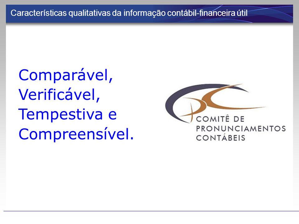 Características qualitativas da informação contábil-financeira útil Comparável, Verificável, Tempestiva e Compreensível.