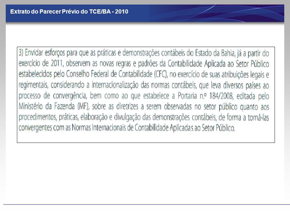 Extrato do Parecer Prévio do TCE/BA - 2010