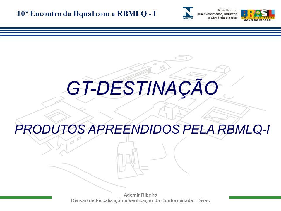 10° Encontro da Dqual com a RBMLQ - I Ademir Ribeiro Divisão de Fiscalização e Verificação da Conformidade - Divec GT-DESTINAÇÃO PRODUTOS APREENDIDOS