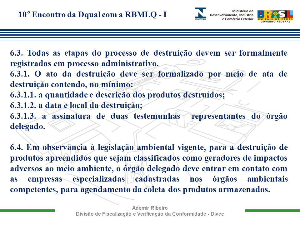 10° Encontro da Dqual com a RBMLQ - I Ademir Ribeiro Divisão de Fiscalização e Verificação da Conformidade - Divec 6.3. Todas as etapas do processo de