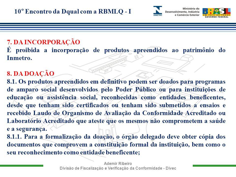 10° Encontro da Dqual com a RBMLQ - I Ademir Ribeiro Divisão de Fiscalização e Verificação da Conformidade - Divec 7. DA INCORPORAÇÃO É proibida a inc