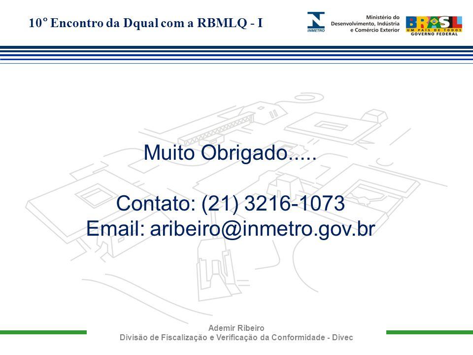 10° Encontro da Dqual com a RBMLQ - I Ademir Ribeiro Divisão de Fiscalização e Verificação da Conformidade - Divec Muito Obrigado..... Contato: (21) 3