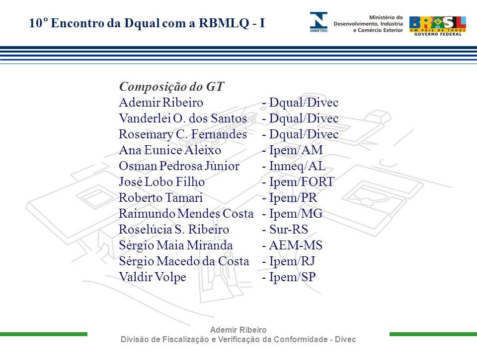 10° Encontro da Dqual com a RBMLQ - I Ademir Ribeiro Divisão de Fiscalização e Verificação da Conformidade - Divec Composição do GT Ademir Ribeiro - D