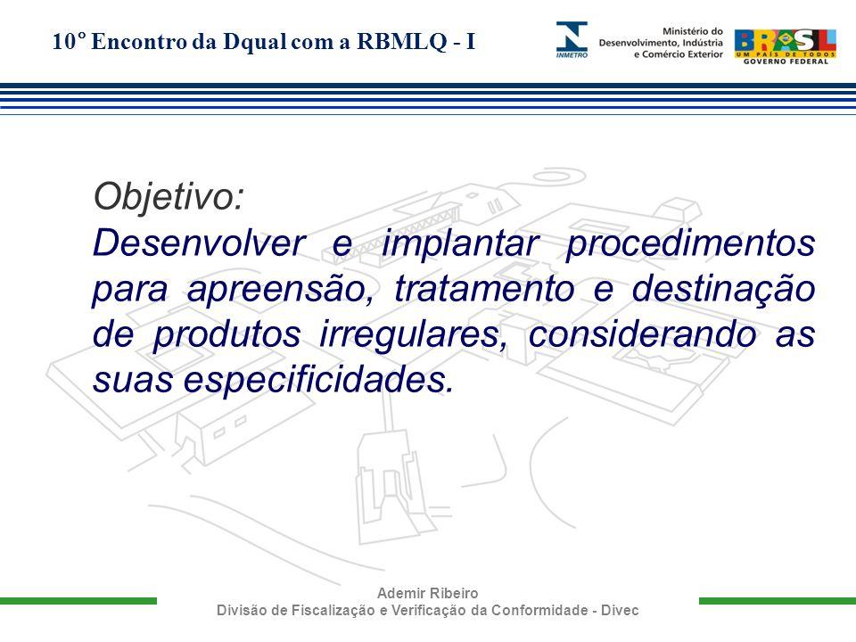 10° Encontro da Dqual com a RBMLQ - I Ademir Ribeiro Divisão de Fiscalização e Verificação da Conformidade - Divec Objetivo: Desenvolver e implantar p