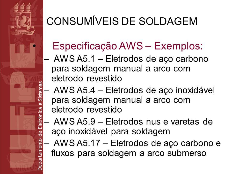 Departamento de Eletrônica e Sistemas CONSUMÍVEIS DE SOLDAGEM Especificação AWS – Exemplos: – AWS A5.1 – Eletrodos de aço carbono para soldagem manual