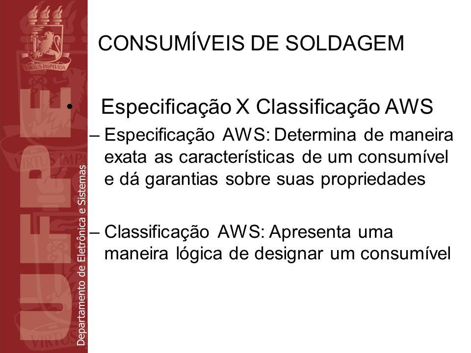 Departamento de Eletrônica e Sistemas CONSUMÍVEIS DE SOLDAGEM Especificação X Classificação AWS –Especificação AWS: Determina de maneira exata as cara