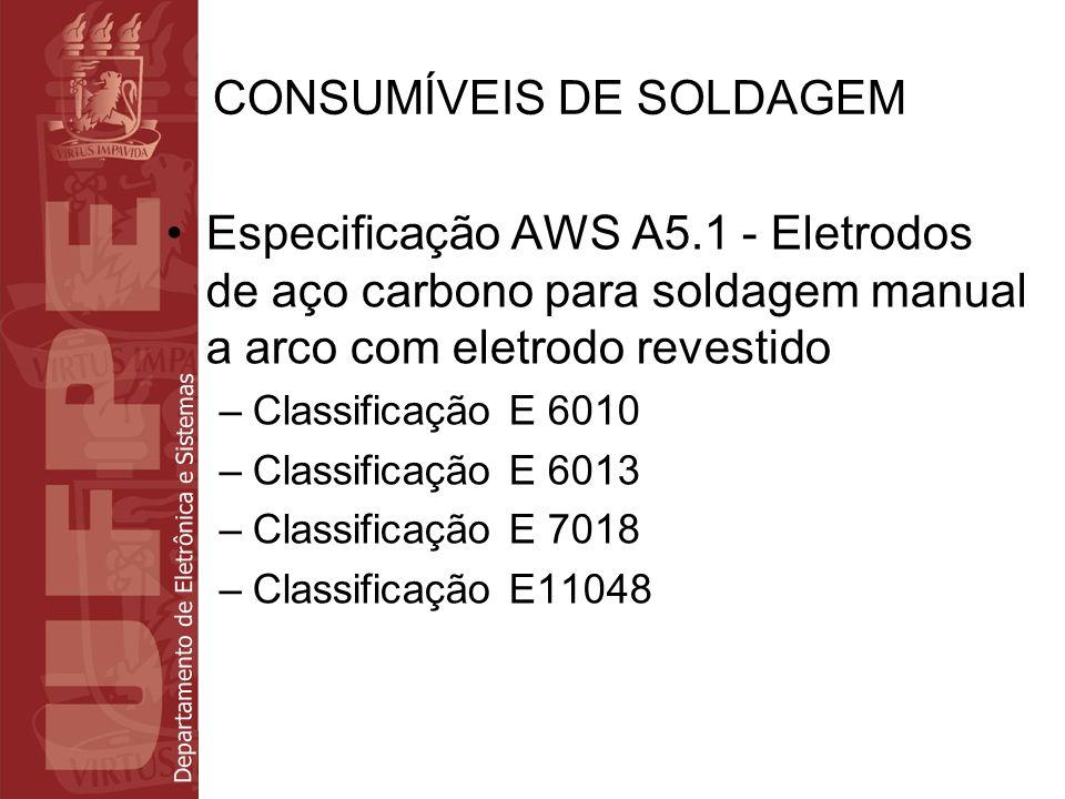 Departamento de Eletrônica e Sistemas CONSUMÍVEIS DE SOLDAGEM Especificação AWS A5.1 - Eletrodos de aço carbono para soldagem manual a arco com eletro