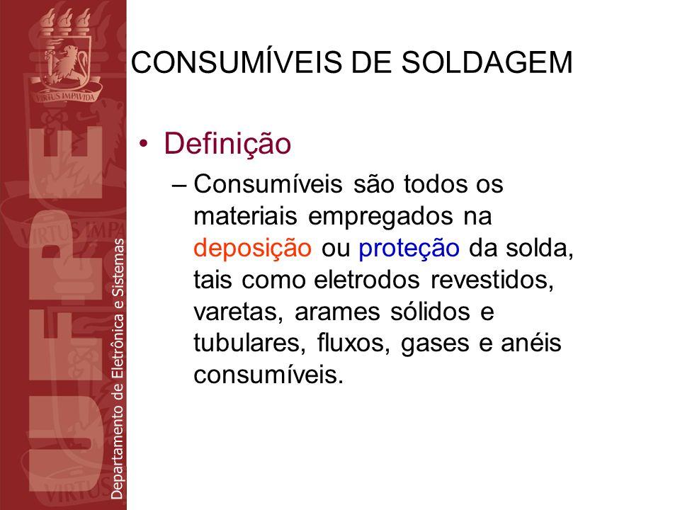 Departamento de Eletrônica e Sistemas CONSUMÍVEIS DE SOLDAGEM Definição –Consumíveis são todos os materiais empregados na deposição ou proteção da sol