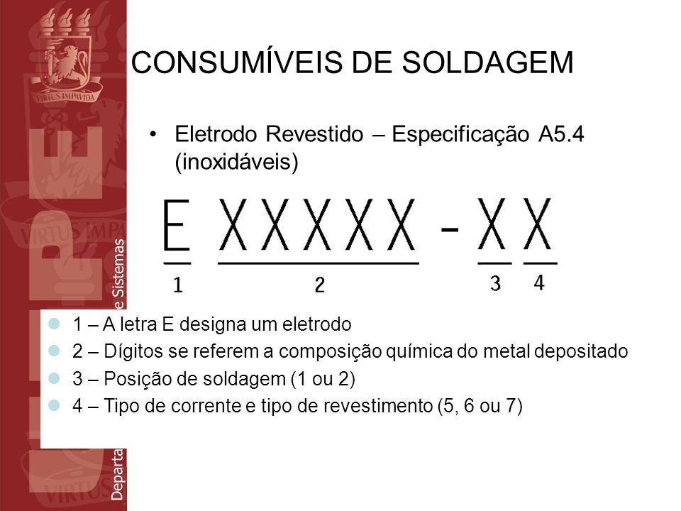 Departamento de Eletrônica e Sistemas CONSUMÍVEIS DE SOLDAGEM Eletrodo Revestido – Especificação A5.4 (inoxidáveis) 1 – A letra E designa um eletrodo