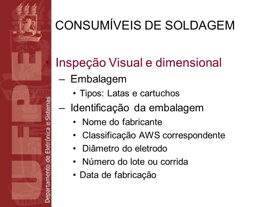 Departamento de Eletrônica e Sistemas CONSUMÍVEIS DE SOLDAGEM Inspeção Visual e dimensional – Embalagem Tipos: Latas e cartuchos – Identificação da em