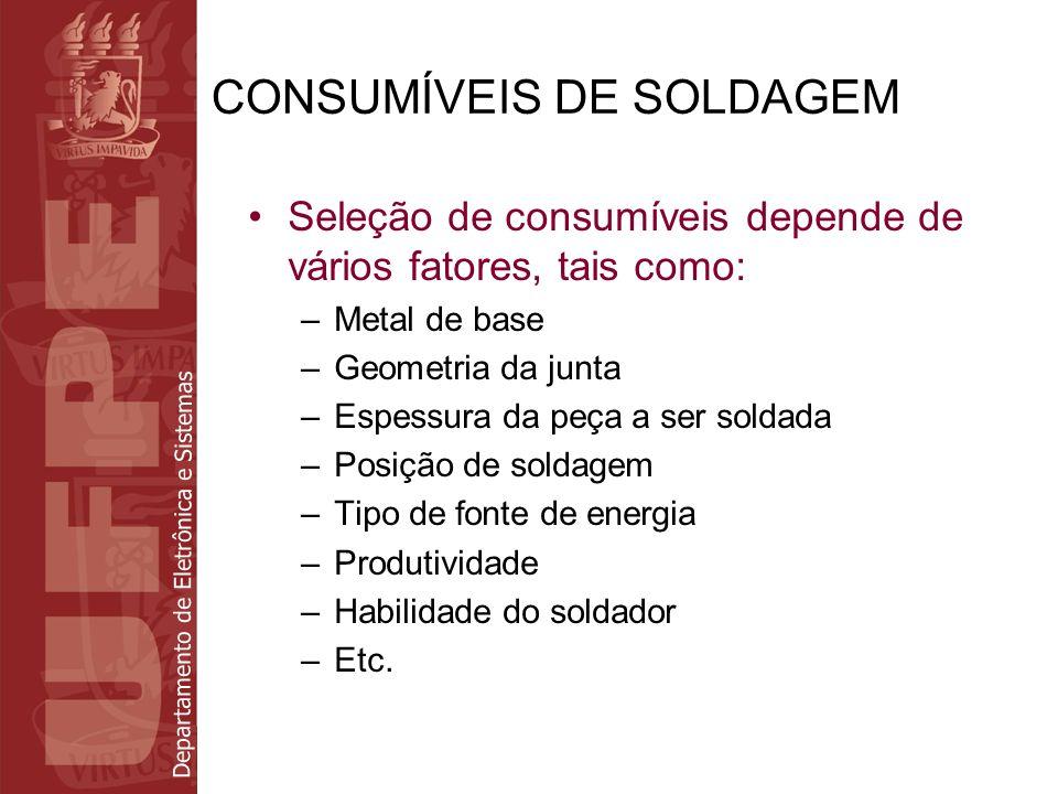 Departamento de Eletrônica e Sistemas CONSUMÍVEIS DE SOLDAGEM Seleção de consumíveis depende de vários fatores, tais como: –Metal de base –Geometria d