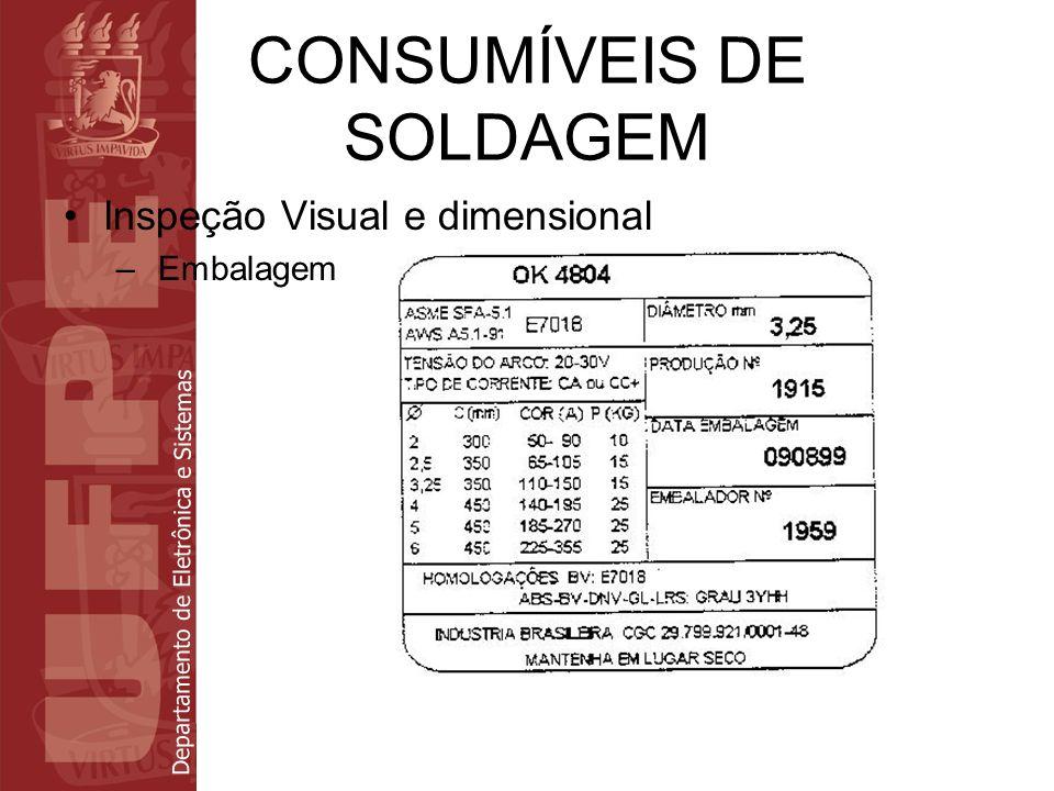Departamento de Eletrônica e Sistemas CONSUMÍVEIS DE SOLDAGEM Inspeção Visual e dimensional – Embalagem