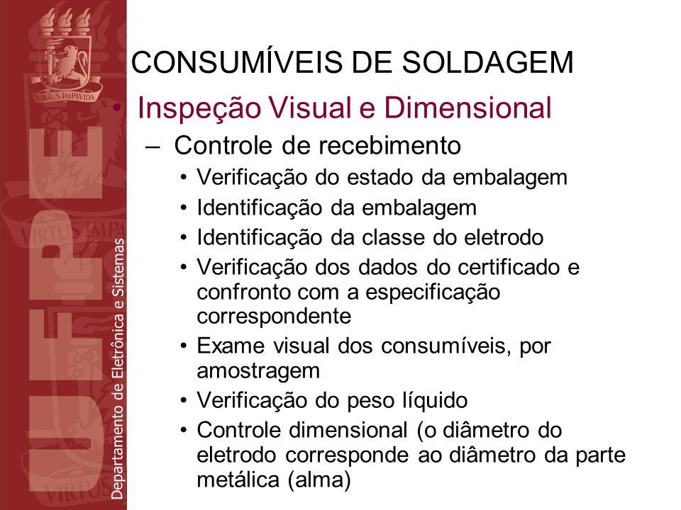 Departamento de Eletrônica e Sistemas CONSUMÍVEIS DE SOLDAGEM Inspeção Visual e Dimensional – Controle de recebimento Verificação do estado da embalag