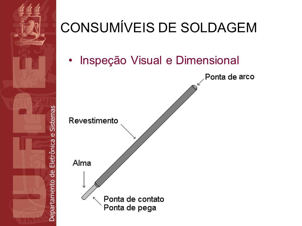Departamento de Eletrônica e Sistemas CONSUMÍVEIS DE SOLDAGEM Inspeção Visual e Dimensional