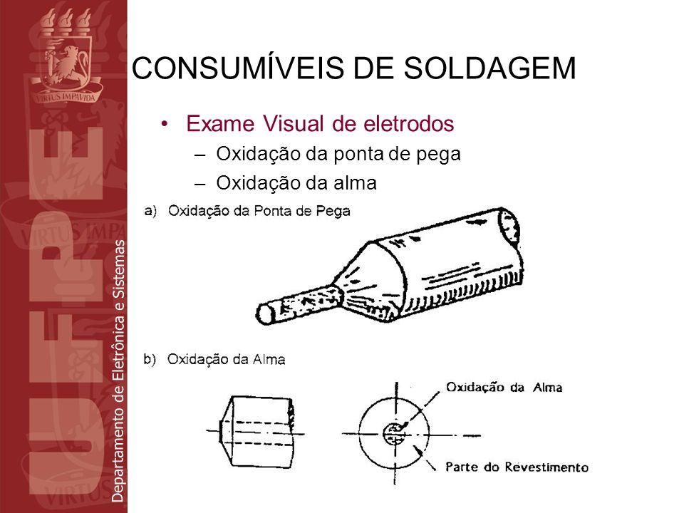 Departamento de Eletrônica e Sistemas CONSUMÍVEIS DE SOLDAGEM Exame Visual de eletrodos –Oxidação da ponta de pega –Oxidação da alma