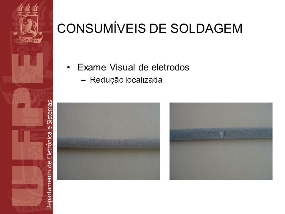 Departamento de Eletrônica e Sistemas CONSUMÍVEIS DE SOLDAGEM Exame Visual de eletrodos –Danos na ponta de arco