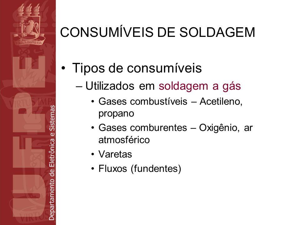 Departamento de Eletrônica e Sistemas CONSUMÍVEIS DE SOLDAGEM Tipos de consumíveis –Utilizados em soldagem a gás Gases combustíveis – Acetileno, propa