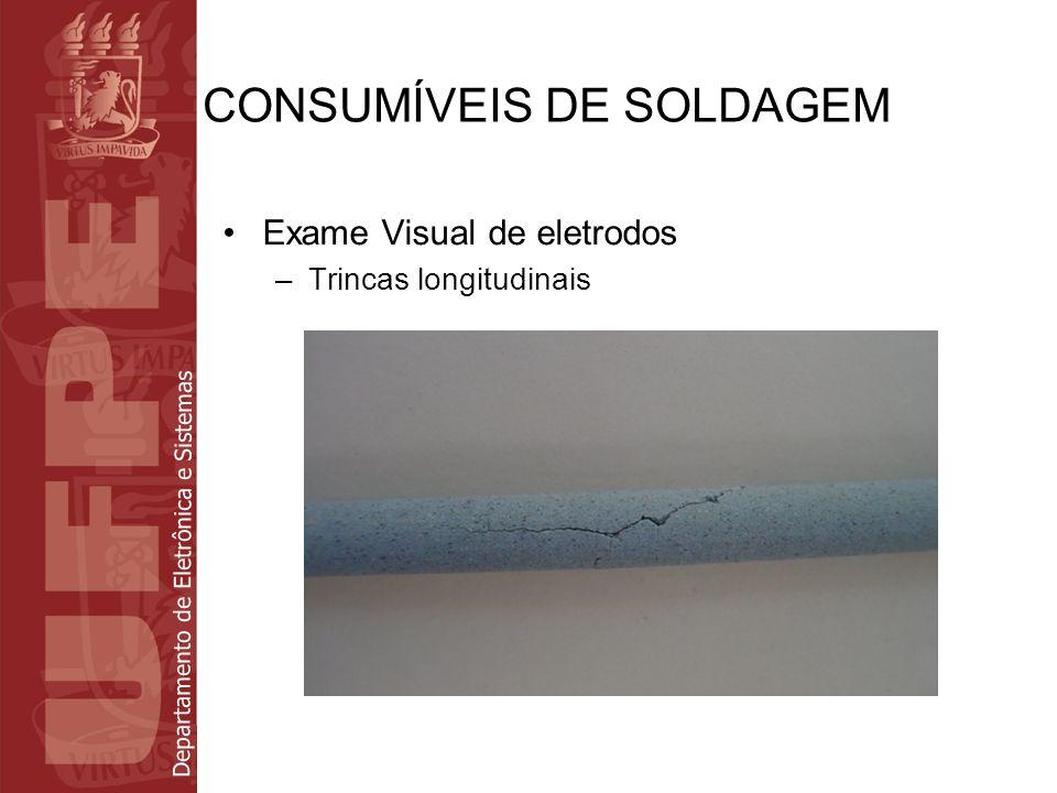 Departamento de Eletrônica e Sistemas CONSUMÍVEIS DE SOLDAGEM Exame Visual de eletrodos –Ausência de conicidade na ponta de arco