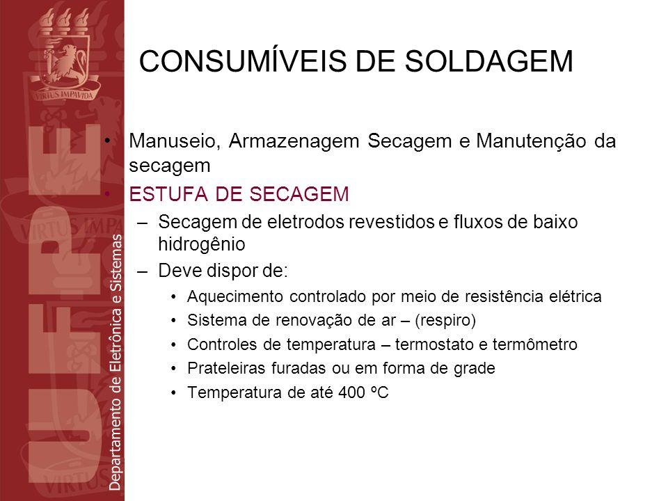 Departamento de Eletrônica e Sistemas CONSUMÍVEIS DE SOLDAGEM Manuseio, Armazenagem Secagem e Manutenção da secagem ESTUFA DE SECAGEM