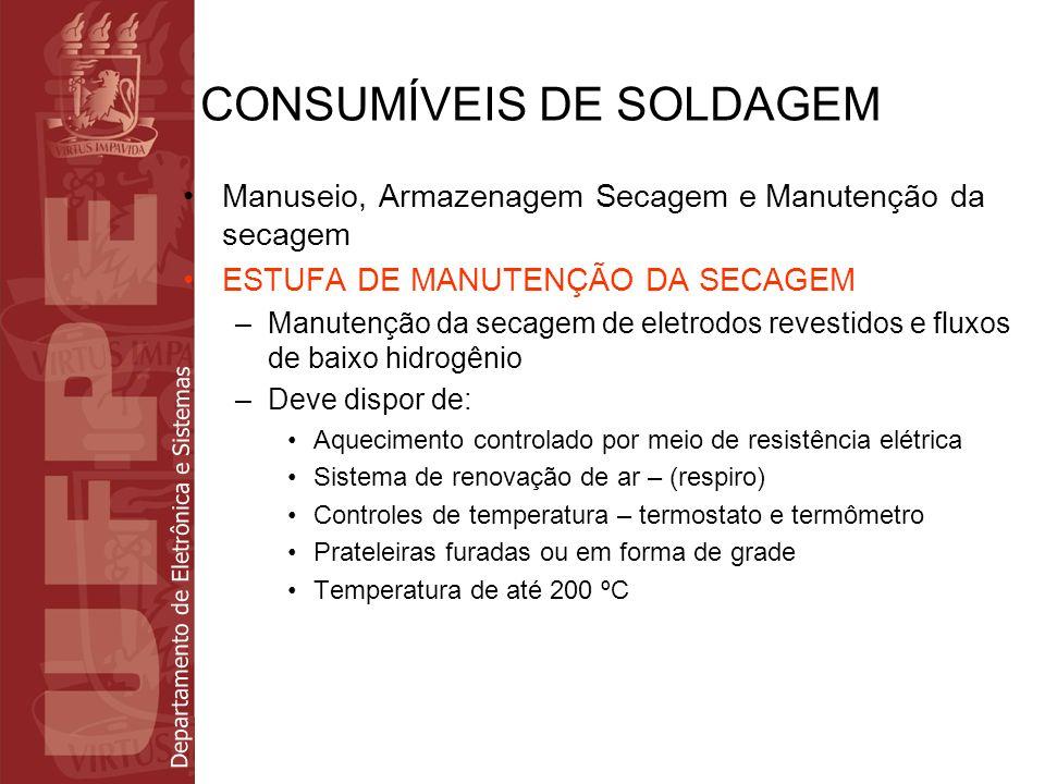 Departamento de Eletrônica e Sistemas CONSUMÍVEIS DE SOLDAGEM Manuseio, Armazenagem Secagem e Manutenção da secagem ESTUFA DE MANUTENÇÃO DA SECAGEM –M