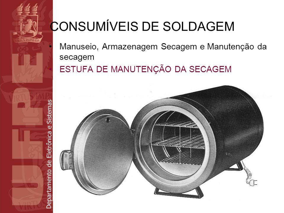 Departamento de Eletrônica e Sistemas CONSUMÍVEIS DE SOLDAGEM Manuseio, Armazenagem Secagem e Manutenção da secagem ESTUFA DE MANUTENÇÃO DA SECAGEM