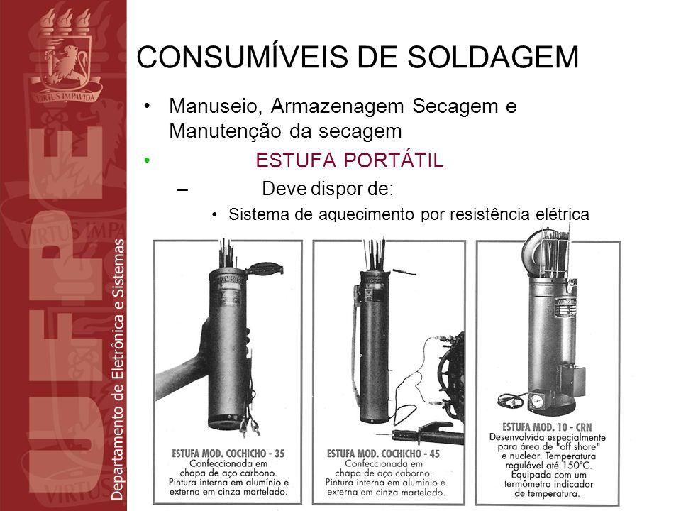 Departamento de Eletrônica e Sistemas CONSUMÍVEIS DE SOLDAGEM Manuseio, Armazenagem Secagem e Manutenção da secagem ESTUFA PORTÁTIL – Deve dispor de: