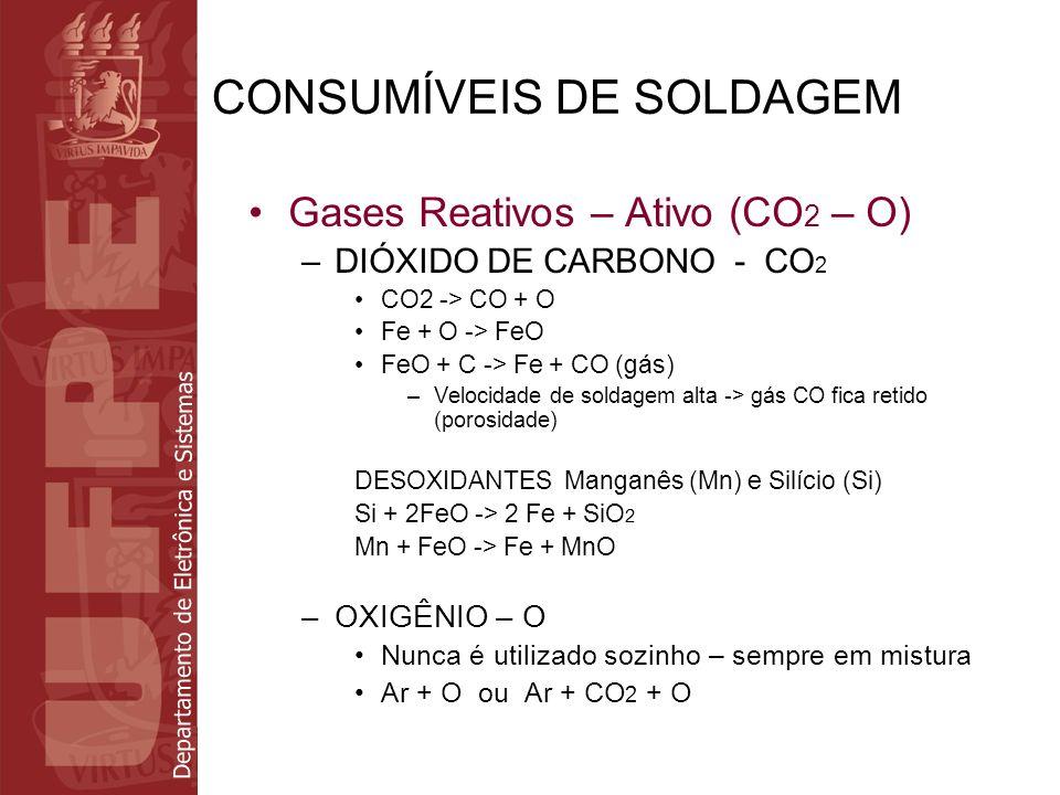 Departamento de Eletrônica e Sistemas CONSUMÍVEIS DE SOLDAGEM Gases Reativos – Redutor –HIDROGÊNIO - H 2 H 2 adicionado ao Ar ou He para aumentar a temperatura do arco –H 2 (molecular) ao passar pelo arco -> 2H (atômico) –2H em temperaturas frias - > H 2 (reação acompanhada de liberação de energia)