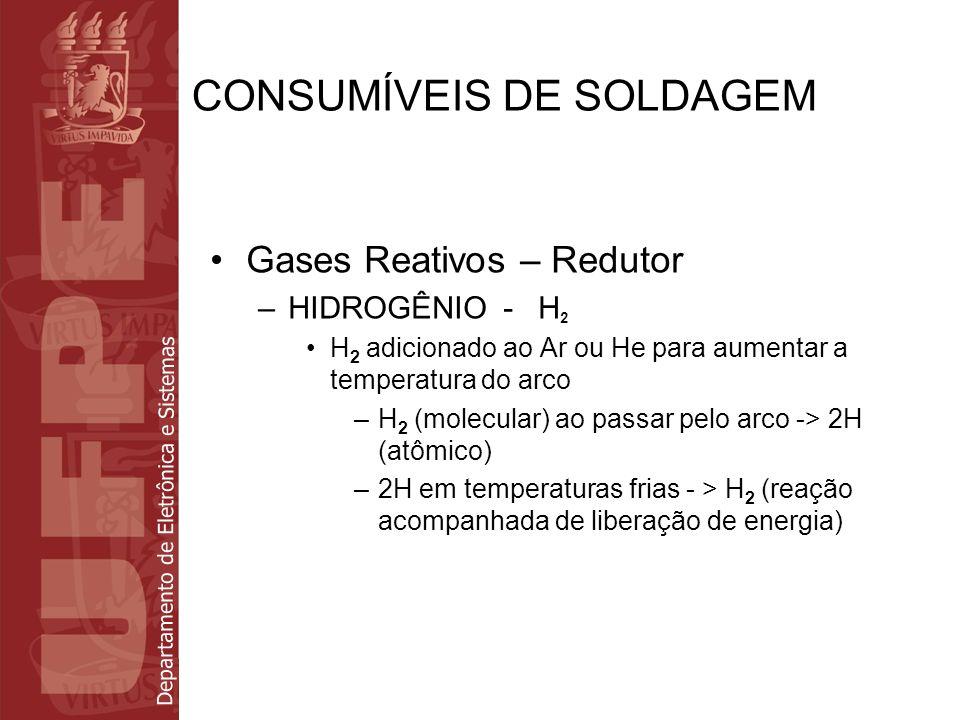 Departamento de Eletrônica e Sistemas CONSUMÍVEIS DE SOLDAGEM Gases Reativos – Redutor –HIDROGÊNIO - H 2 H 2 adicionado ao Ar ou He para aumentar a te