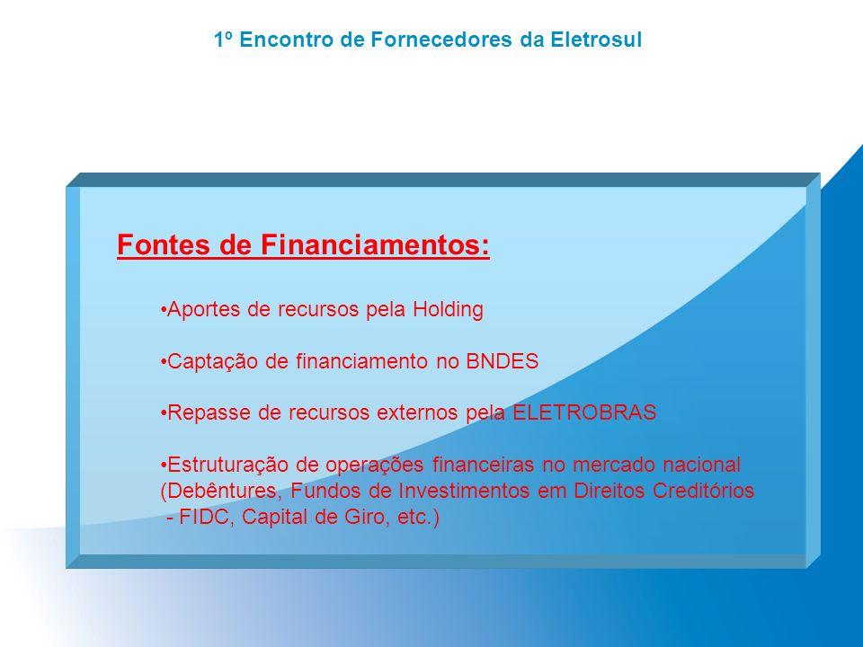Fontes de Financiamentos: Aportes de recursos pela Holding Captação de financiamento no BNDES Repasse de recursos externos pela ELETROBRAS Estruturaçã
