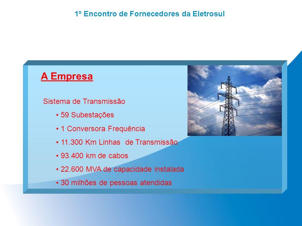 1º Encontro de Fornecedores da Eletrosul A Empresa Sistema de Transmissão 59 Subestações 1 Conversora Frequência 11.300 Km Linhas de Transmissão 93.40