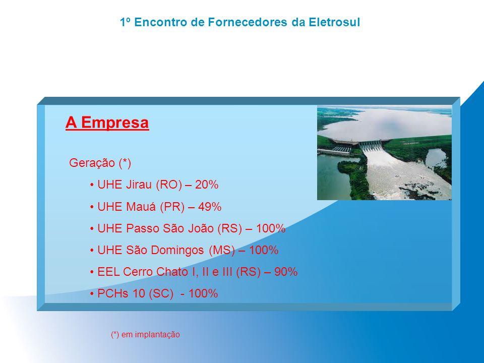 1º Encontro de Fornecedores da Eletrosul A Empresa Geração (*) UHE Jirau (RO) – 20% UHE Mauá (PR) – 49% UHE Passo São João (RS) – 100% UHE São Domingo