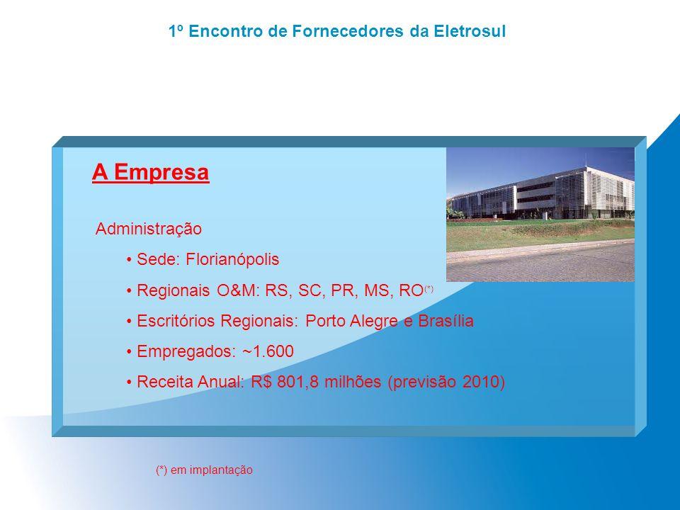 1º Encontro de Fornecedores da Eletrosul A Empresa Administração Sede: Florianópolis Regionais O&M: RS, SC, PR, MS, RO (*) Escritórios Regionais: Port
