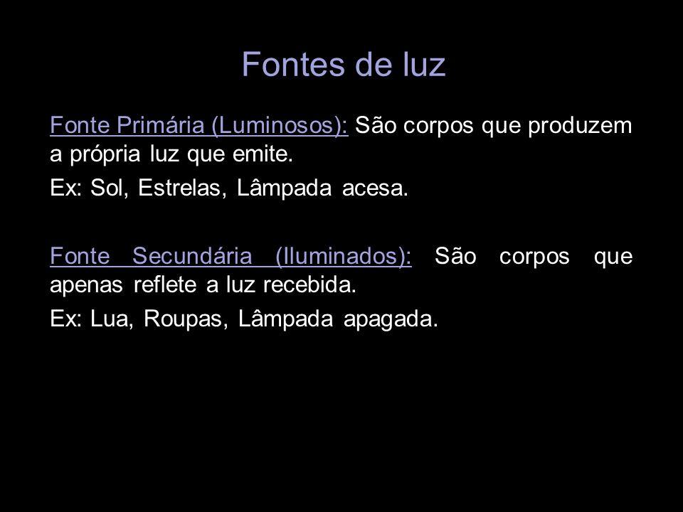 Fontes de luz Fonte Primária (Luminosos): São corpos que produzem a própria luz que emite. Ex: Sol, Estrelas, Lâmpada acesa. Fonte Secundária (Ilumina