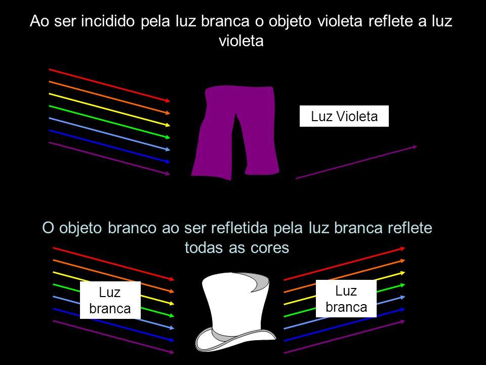 O objeto branco ao ser refletida pela luz branca reflete todas as cores Ao ser incidido pela luz branca o objeto violeta reflete a luz violeta Luz Vio