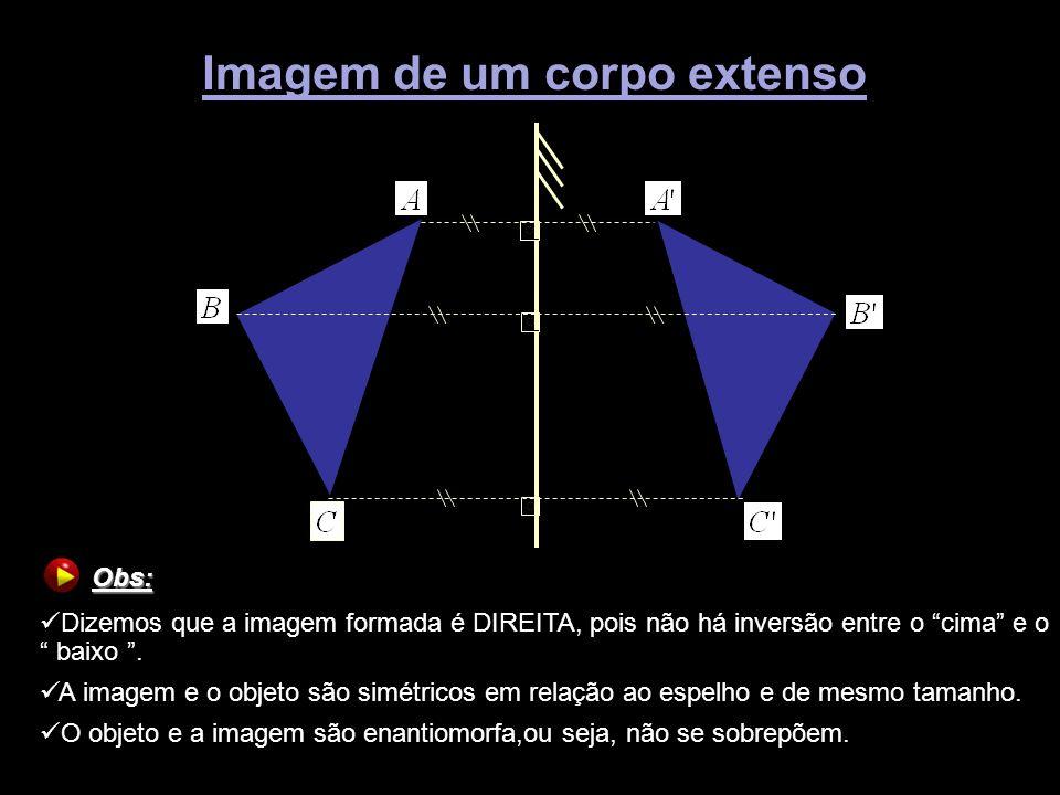 Imagem de um corpo extenso Obs: Obs: Dizemos que a imagem formada é DIREITA, pois não há inversão entre o cima e o baixo. A imagem e o objeto são simé