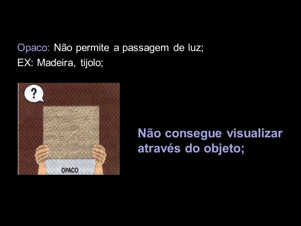 Opaco: Não permite a passagem de luz; EX: Madeira, tijolo; Não consegue visualizar através do objeto;
