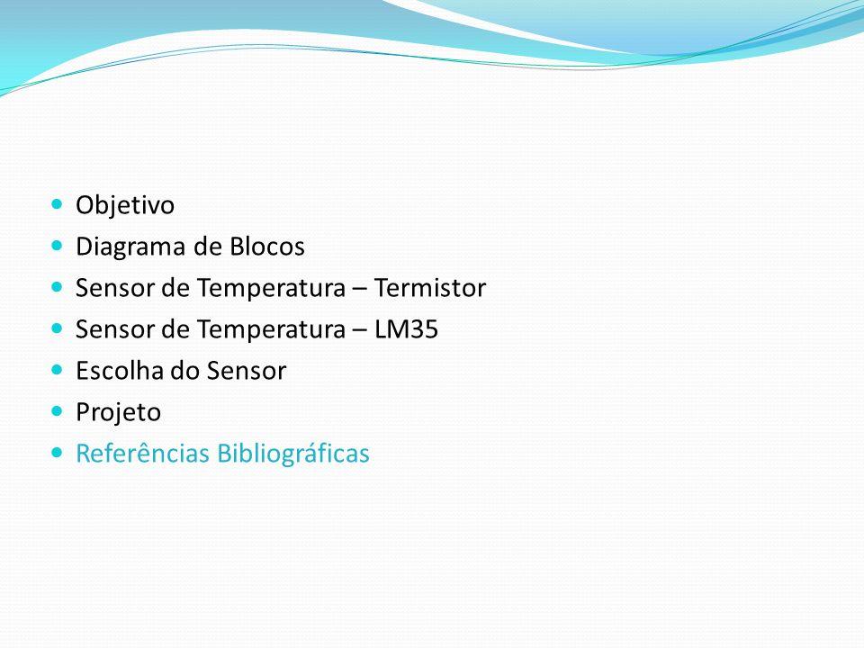 Objetivo Diagrama de Blocos Sensor de Temperatura – Termistor Sensor de Temperatura – LM35 Escolha do Sensor Projeto Referências Bibliográficas