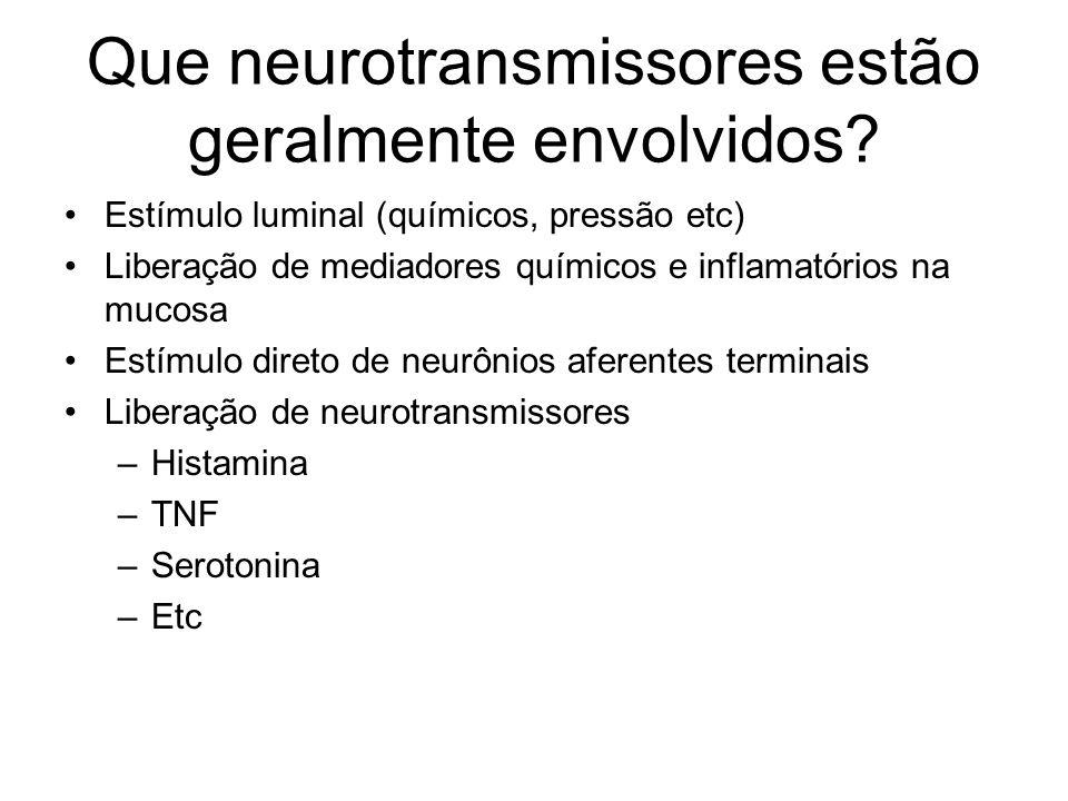 Que neurotransmissores estão geralmente envolvidos? Estímulo luminal (químicos, pressão etc) Liberação de mediadores químicos e inflamatórios na mucos