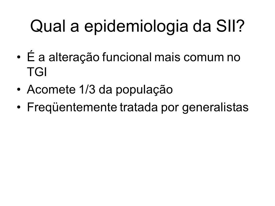 Qual a epidemiologia da SII? É a alteração funcional mais comum no TGI Acomete 1/3 da população Freqüentemente tratada por generalistas
