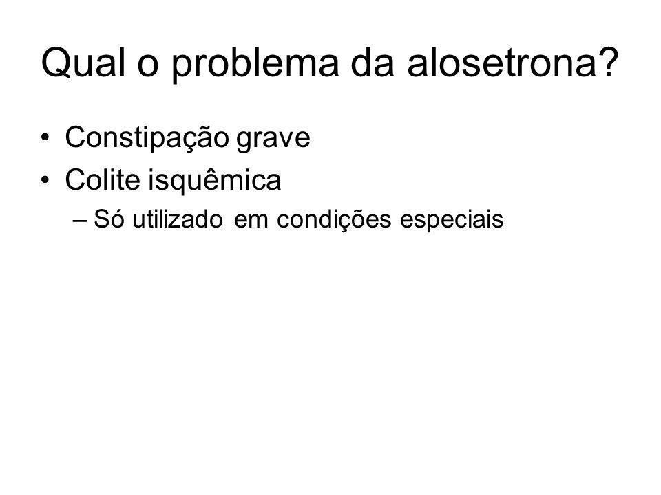 Qual o problema da alosetrona? Constipação grave Colite isquêmica –Só utilizado em condições especiais