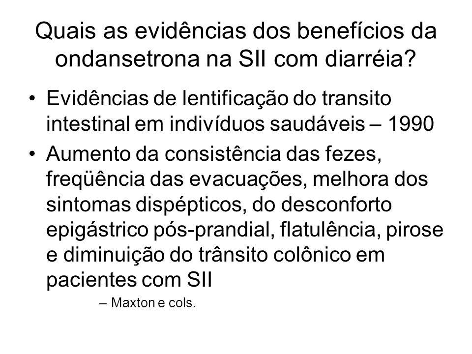 Quais as evidências dos benefícios da ondansetrona na SII com diarréia? Evidências de lentificação do transito intestinal em indivíduos saudáveis – 19