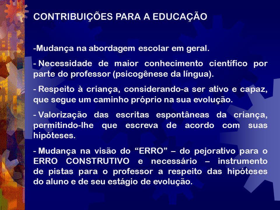 CONTRIBUIÇÕES PARA A EDUCAÇÃO -Mudança na abordagem escolar em geral. - Necessidade de maior conhecimento científico por parte do professor (psicogêne
