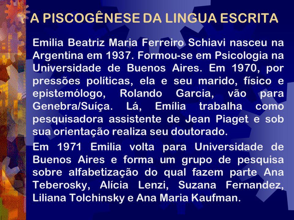 A PISCOGÊNESE DA LINGUA ESCRITA Emilia Beatriz Maria Ferreiro Schiavi nasceu na Argentina em 1937. Formou-se em Psicologia na Universidade de Buenos A