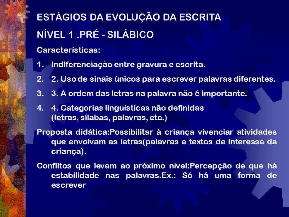 ESTÁGIOS DA EVOLUÇÃO DA ESCRITA NÍVEL 1.PRÉ - SILÁBICO Características: 1.Indiferenciação entre gravura e escrita. 2.2. Uso de sinais únicos para escr