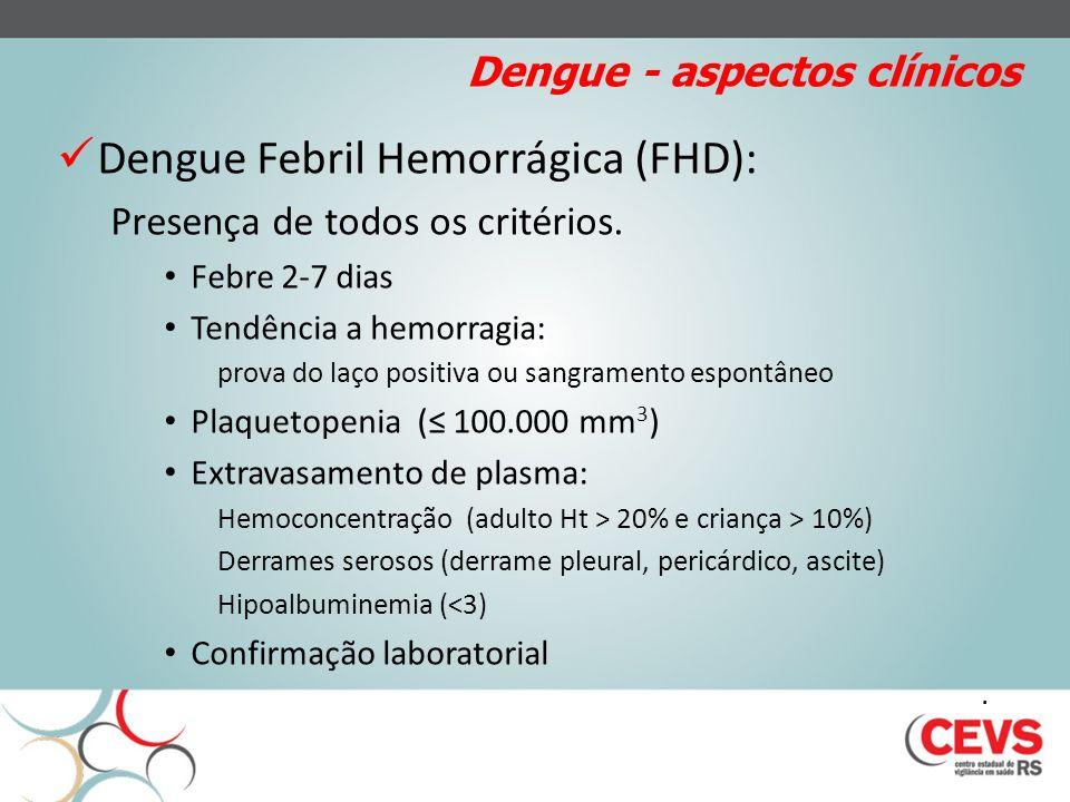 Dengue - aspectos clínicos Dengue Febril Hemorrágica (FHD): Presença de todos os critérios. Febre 2-7 dias Tendência a hemorragia: prova do laço posit