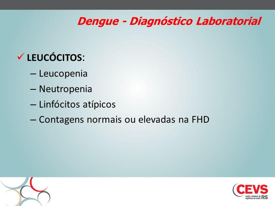 Dengue - Diagnóstico Laboratorial LEUCÓCITOS : – Leucopenia – Neutropenia – Linfócitos atípicos – Contagens normais ou elevadas na FHD