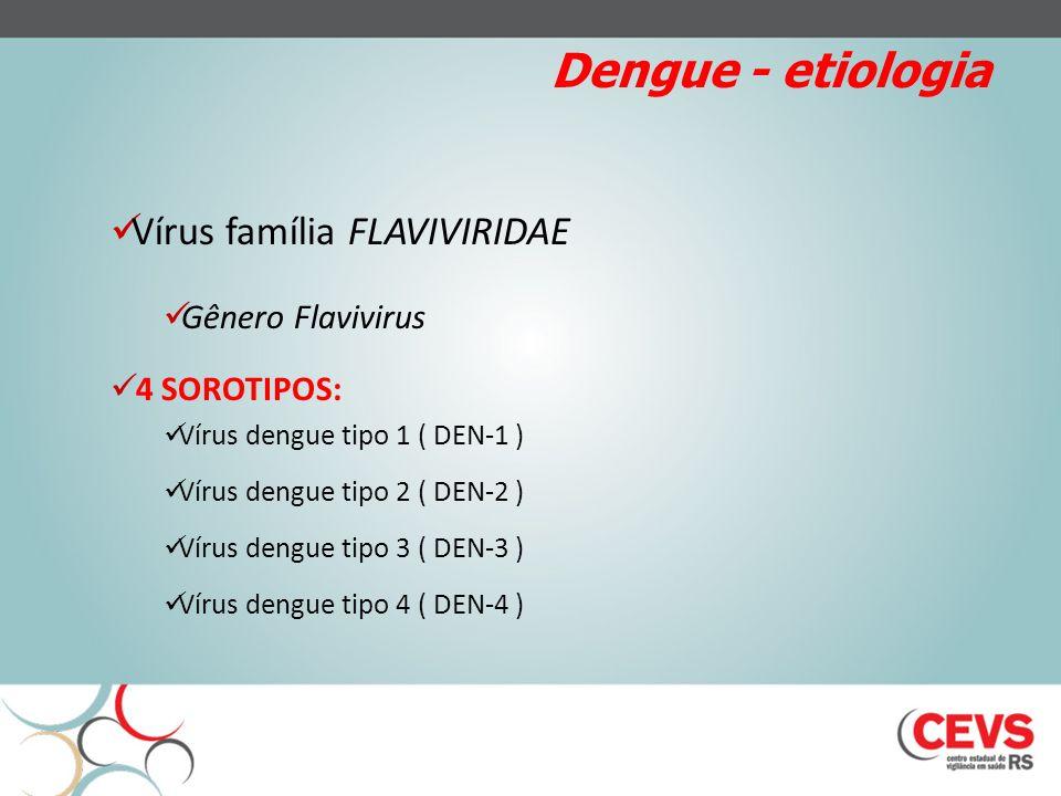 Dengue - etiologia Vírus família FLAVIVIRIDAE Gênero Flavivirus 4 SOROTIPOS: Vírus dengue tipo 1 ( DEN-1 ) Vírus dengue tipo 2 ( DEN-2 ) Vírus dengue tipo 3 ( DEN-3 ) Vírus dengue tipo 4 ( DEN-4 )